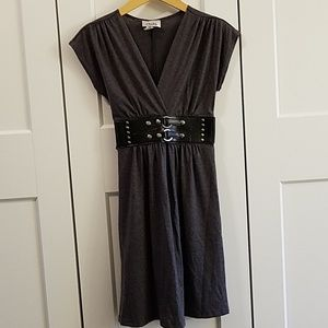 Knit dress with faux leather belt detail